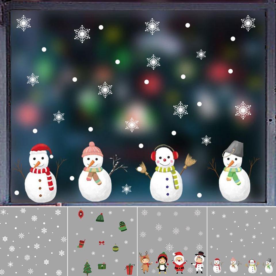 Christmas snowman decoration self-adhesive electrostatic wall sticker