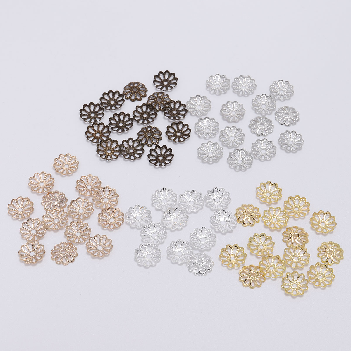 200 Pcs/Bag 7mm 9mm Flower Bead End Caps Gold Silver Bead Caps For Jewelry Making DIY Bracelet Earrings Accessories Findings