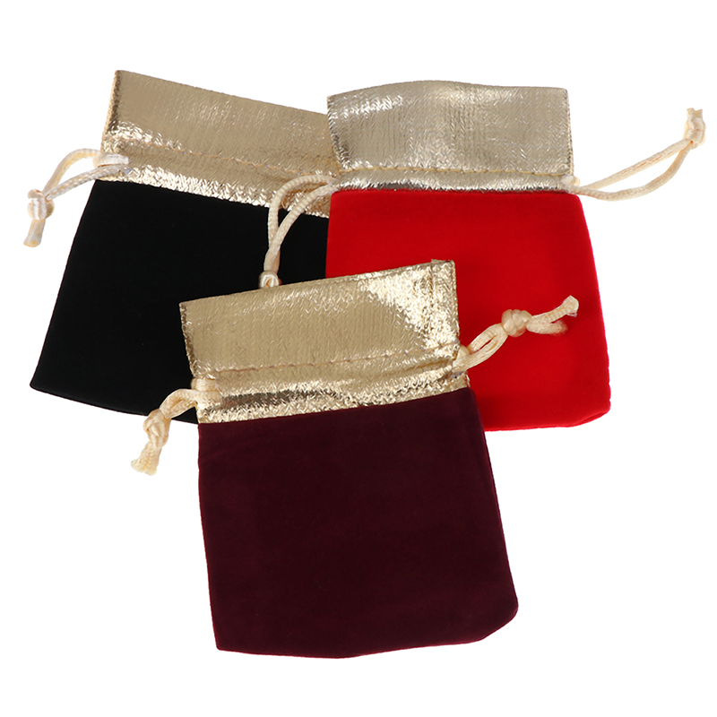 5pcs Drawstring Bags Jewelry Packaging Display Velvet Pouches Drawstring Packing Wedding Gift Bags 7x9cm 10x12cm 12x15cm