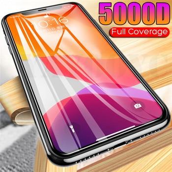 Перейти на Алиэкспресс и купить Закаленное стекло 5000D с полным покрытием для iPhone SE 2020 7 8 6 6s Plus, Защитная пленка для экрана iPhone 11 Pro XS MAX XR X