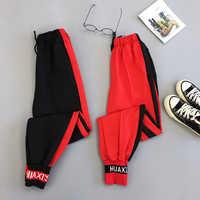 Wiosna Sport spodnie Cargo Plus rozmiar wyszywane litery spodnie kobiety wysoka talia, moda uliczna modne dziewczęce Harajuku spodnie w stylu hip hop