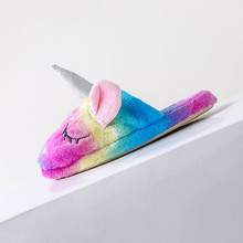 Unicorn Slippers Girl Shoes Rainbow Matching Kids Warm Soft Oneises Flannel
