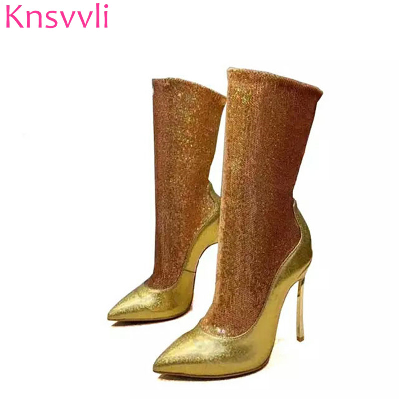 Knsvvli New Sequins Gold Ankle Boots For Women Ponted toe Stiletto Elastic Sock Boots Autumn Bling Bling High Heels Botas Mujer