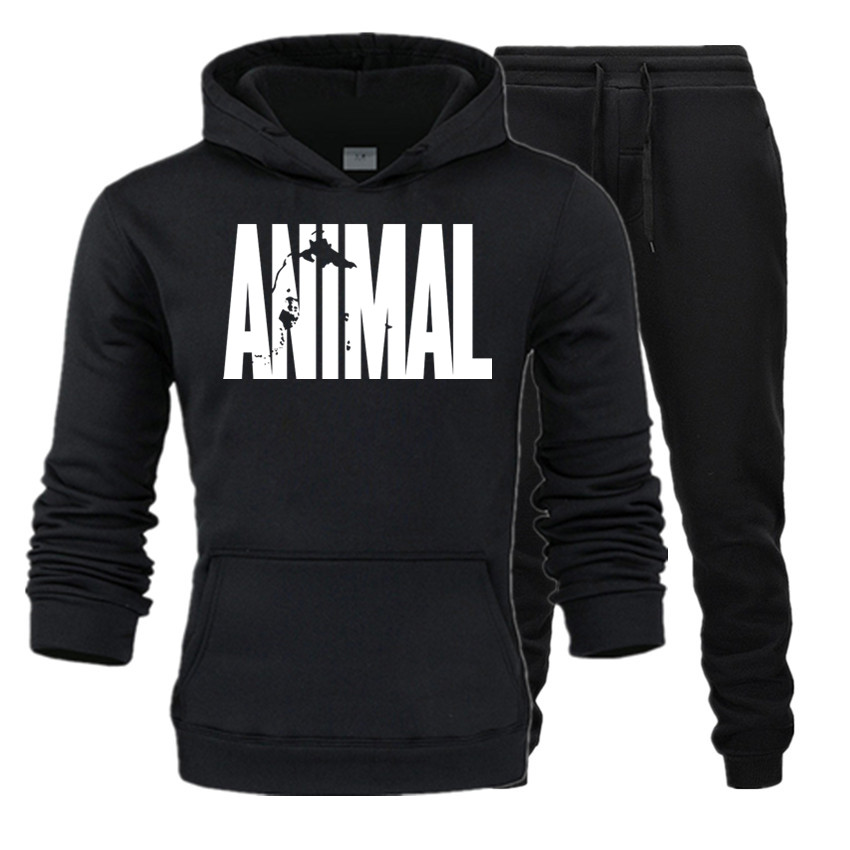 New Brand Autumn Hot Sale Hoodies Men's Street Wear +pants Two Pieces Sets Casual Tracksuit Male Animal Sweatshirt Jogger Trouse