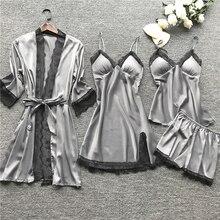 New Women Pajamas Sets Satin Sleepwear Silk 4 Pieces Nightwear Pyjama Spaghetti Strap Lace