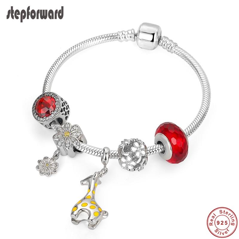 Étape en avant à la mode nouveau 925 en argent Sterling breloques bracelets pour femme girafe fleurs rouge cristal perles argent bijoux bracelet