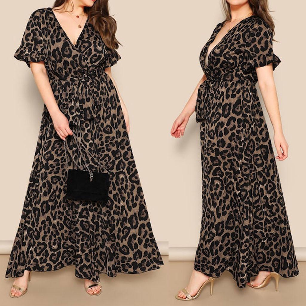 Vintage Ladies Bandage Dress Women's Sexy Dresses Summer Leopard Print Plus Size Dresses Short Sleeve Casual V neck Yellow Dress