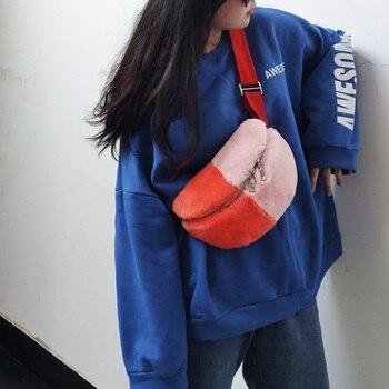 Ellacey Autumn Winter New Casual Sports Pockets Rabbit Fur Chest Bag Crossbody Fashion Real Fur Bag Contrast Color Waist Bag