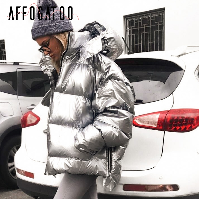 Affogatoo Casual Loose Warm Winter Coat Parkas Woman Silver Down Jacket Winter Jacket Ladies Coats Winter Fashion Coats Female