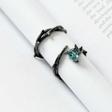 Vintage Punk Metal Opening Ring Male Female Blue Rose Flower Black Gold Rings For Women Men Jewelry Simple Fashion Couples Ring