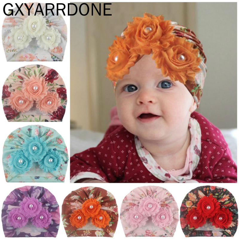 2020 Baby Girls Beanie Floral Spring Summer Pearls Newborn Hat Three Shabby Flower Turban Hat Infant Baby Cap 12 Colors