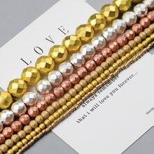 Wlyees ouro silve maçante polonês fosco facetado hematite redondo pedra natural solto grânulo para jóias pulseira fazendo diy acessórios