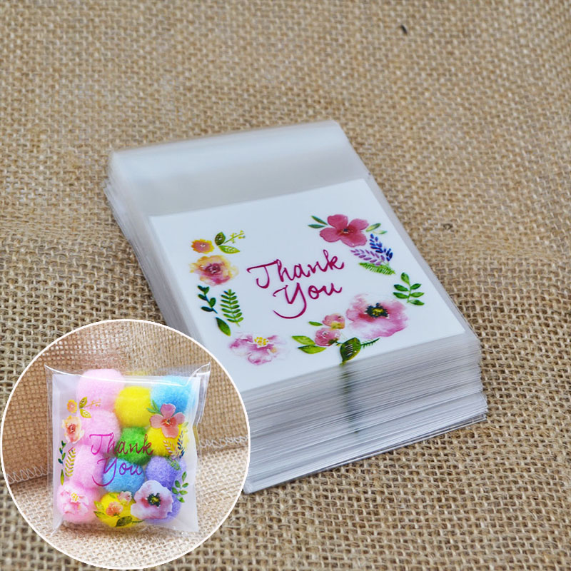 100pcs Party Favors Gifts Bags Cookie Candy Package Self Adhesive OPP Bags For Birthday Wedding XMAS Decoration Baking Supplies