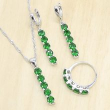 Geometric Green Crystal 925 Silver Jewelry Sets for Women Earrings Rings Necklace Pendant Gift Box(China)