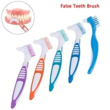 Multifunctional Denture Cleaning Brush Multi-Layered Bristles False Teeth Brush Oral Care Tool Bristles Ergonomic Rubber Handle