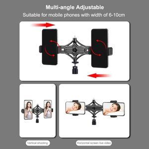 Image 4 - PULUZ Stativ Montieren + Live übertragung Dual Telefon Halterung + 6,2 zoll 16cm LED Ring Vlogging Video Licht Kits live Broadcast Kits
