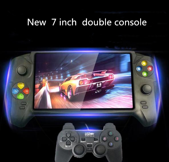 New HD 7 inch handheld game console support kinds of emulators max 48G 3000 game double player for GBA NES retro game console image