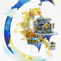 3D All Metal Three-dimensional Puzzle Moon Palace High-quality DIY Hand-assembled Model Educational