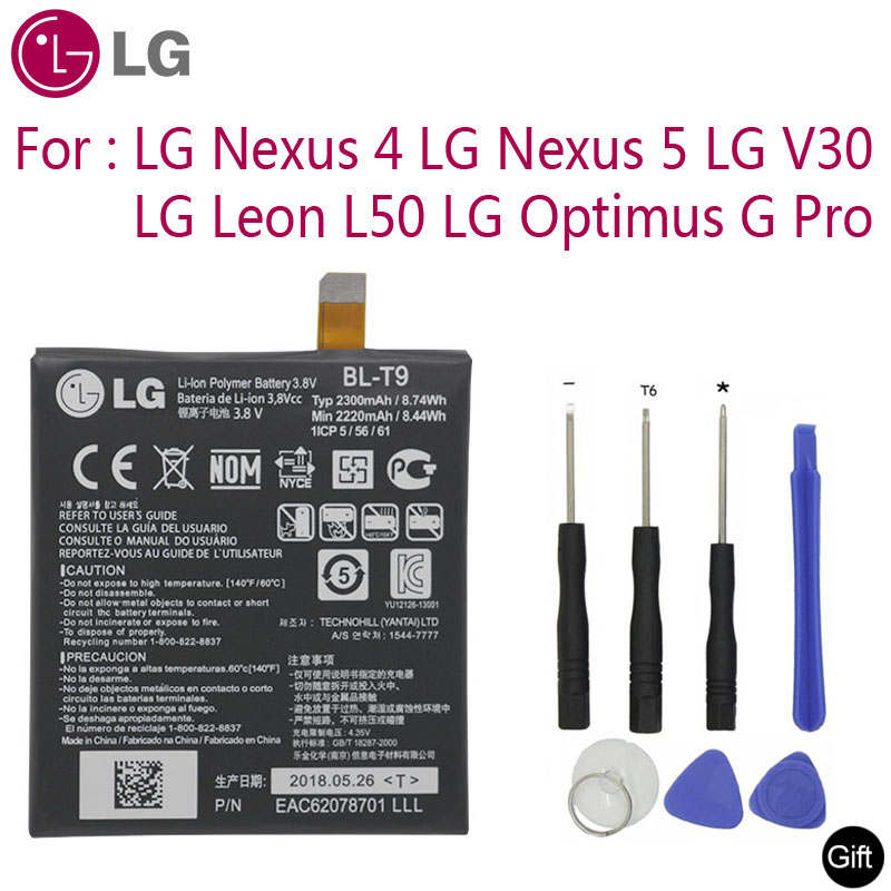 LG Original Replacement Phone Battery BL-T9 For LG Nexus 4 5 LG V30 For Optimus G Pro LG Leon L50 BL-T5 BL-T34 BL-48TH BL-41ZH