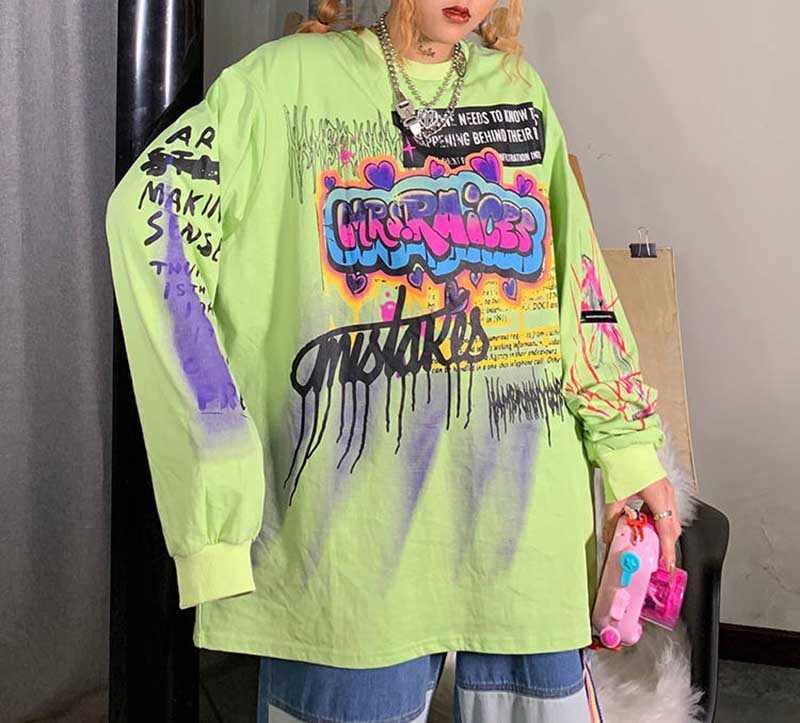 2020 Punk Top Vefadisa Herfst Vrouw Groen Katoen Print Patroon T-shirt Volledige Mouw Trui T-shirt O-hals Casual T-shirt Vrouwen
