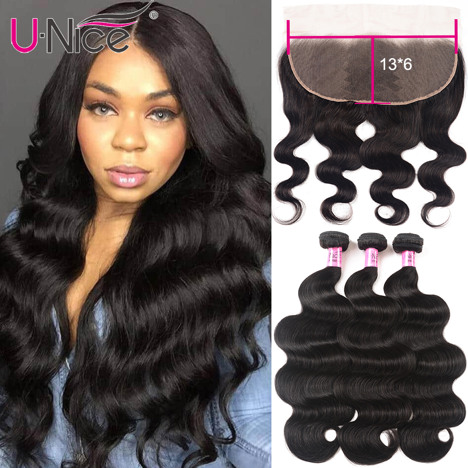 Unice Hair 13x6 Lace Frontal With Bundles Brazilian Body Wave Human Hair Bundles With Closure Pre Plucked Remy Hair Extension