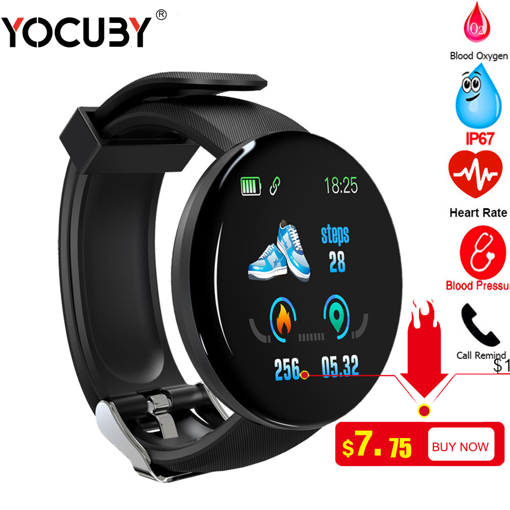 <font><b>Smart</b></font> <font><b>Watch</b></font> Men D18 Heart Rate Monitor Blood Pressure Smartwatch Women Waterproof Sport Fitness Tracker <font><b>Watch</b></font> PK D13 Dropshiping image