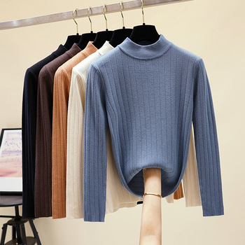 HLBCBG chic Autumn winter loose thick Sweater Pullovers Women Long Sleeve casual turtleneck warm basic Sweater knit Jumpers top turtleneck pullovers loose basic sweater autumn and winter tops solid cashmere sweater women loose thick mink cashmere sweater