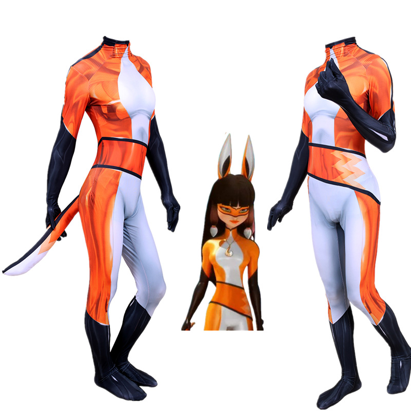 Volpina Cosplay Costume Superhero Adult Boys Kids Zentai Jumpsuit Spandex Bodysuit Fancy Halloween Unisex Orange Party Unisex