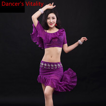 Women Belly Dance Practice Clothes Summer New Lace Top Short Skirt Training Set