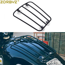 ZORBYZ Universal Motorcycle Black Steel Fuel Gas Tank Suction Cup Sucker Parcel Rack For Harley Triumph
