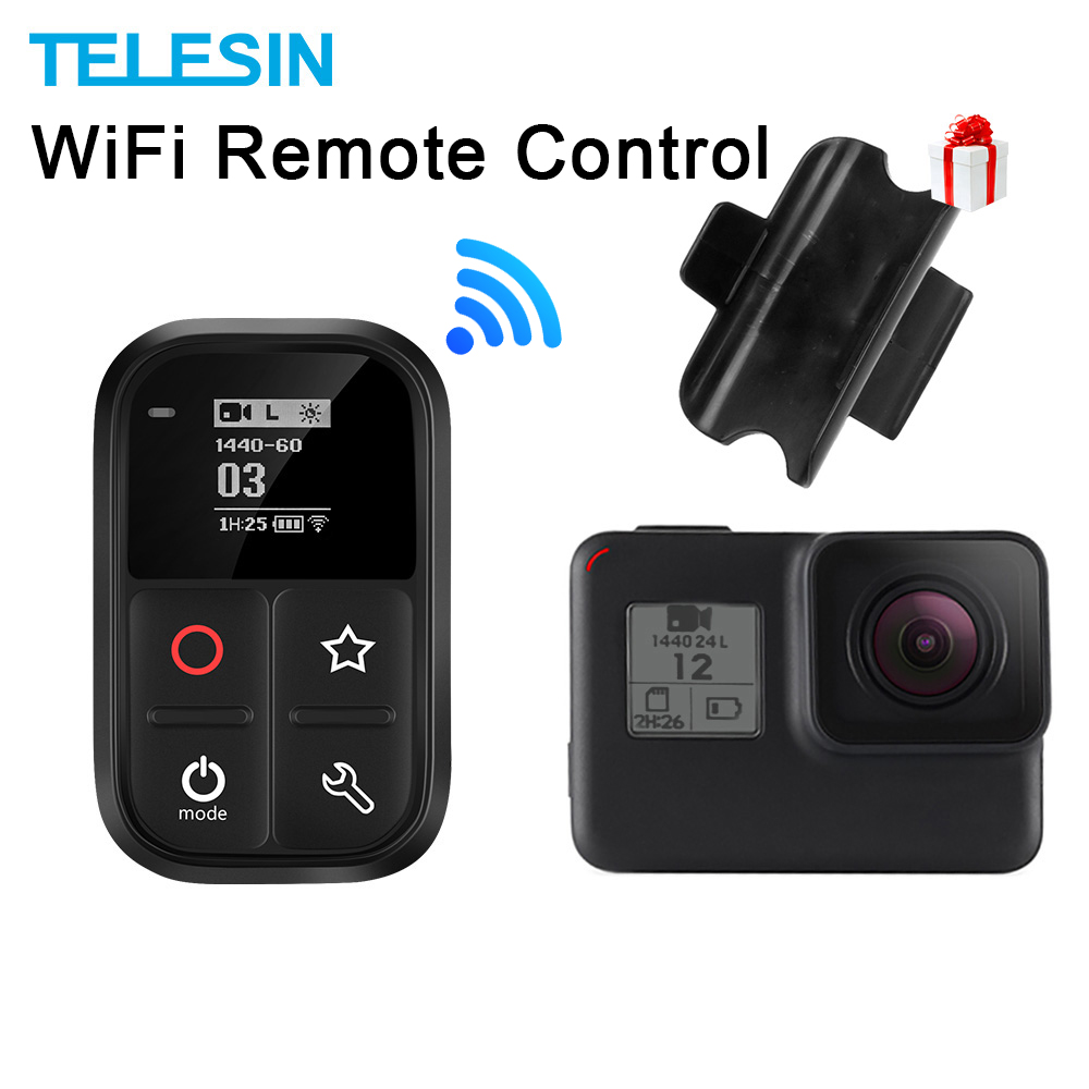 TELESIN 80M Wifi Control Remote For Gopro Hero Black 7 6 5  Session Self-luminous OLED Screen Remote Set And Shortcut
