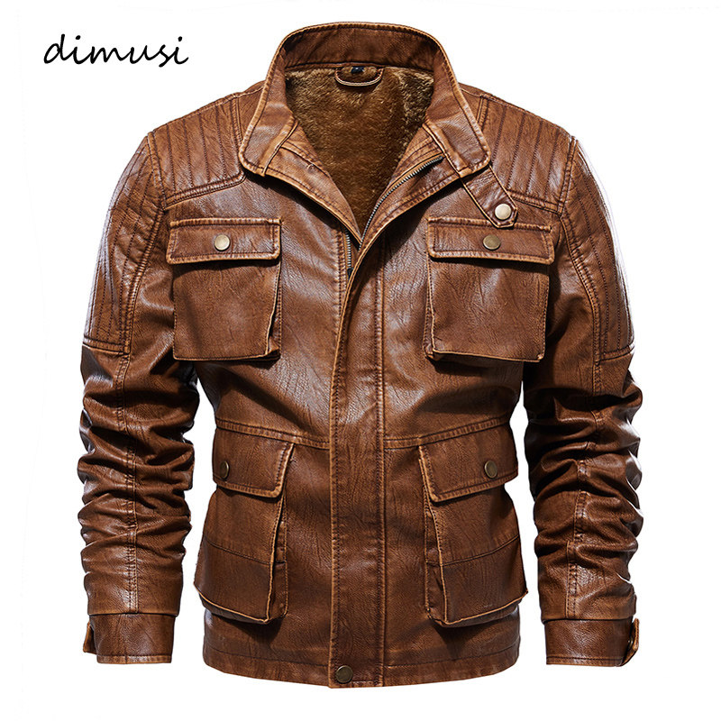 DIMUSI Men's Leather Jackets Casual Vintage PU Leather Coats Man Slim Fit Faux Motorcycle Jackets Biker Jackets Clothing 5XL