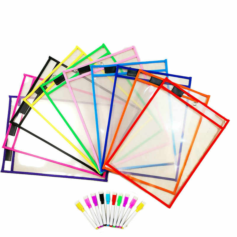 2 Banyak Mainan Puzzle Dapat Digunakan Kembali dengan PVC Transparan Sikat Kering Tas Hewan Peliharaan Menulis Mengelap Kering Tas Gambar Mainan untuk Dewasa Anak