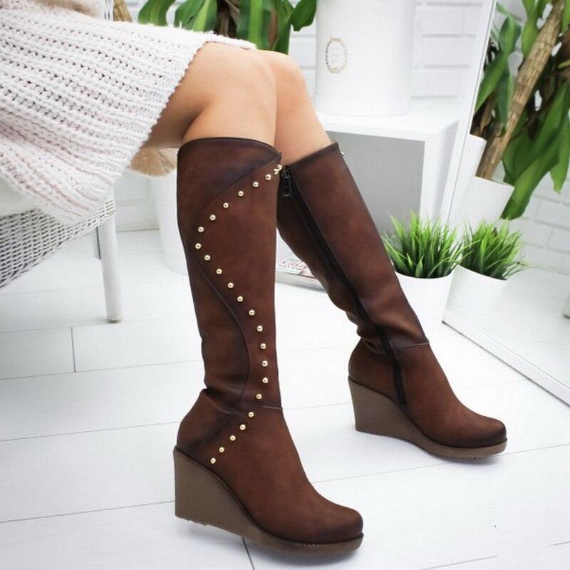 2020 Zippers Boots Women Knee-High Boots Rivet Platform High Heel Boots Sexy Shoes Woman Botas Mujer Bota Feminina