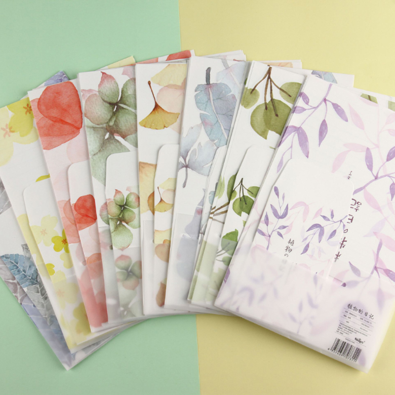 9Pcs/set Cute Plant Diary 3 Envelope+6 Paper Letter Creative Stationery Gift School Office Supplies