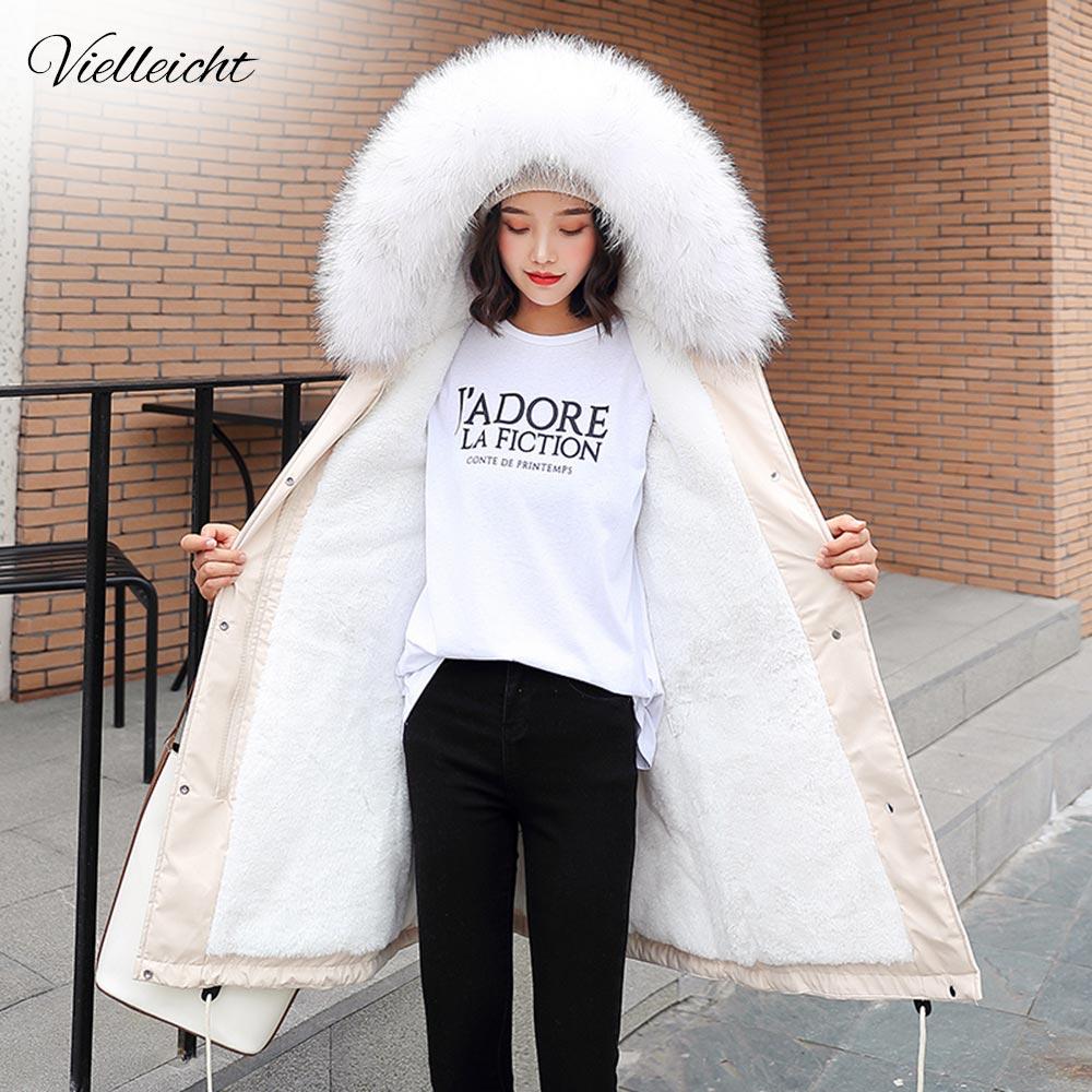 Vielleicht-30 degrés nouveauté 2019 femmes veste d'hiver à capuche col en fourrure femme Long manteau d'hiver Parkas avec doublure en fourrure