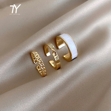 2020 New Gothic Style Three Piece Opening Rings For Woman Fashion Korean Jewelry European and American Wedding Party Sexy Ring cheap Taoya CN(Origin) Zinc Alloy Women Metal Classic Irregular None Alloy + drip glaze The diameter is about 1 7cm Gold