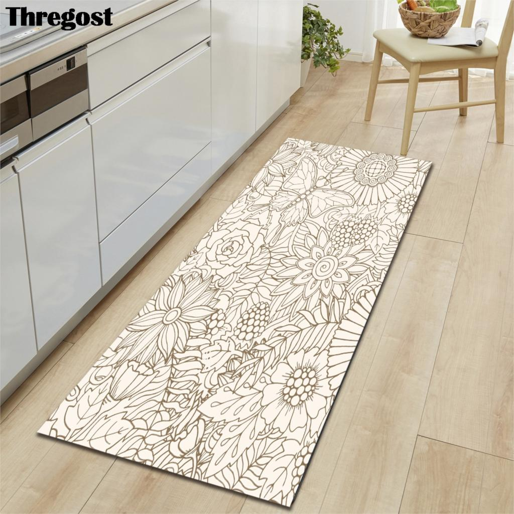 Geometric Printed Non Slip Door Mat Kitchen Mats Microfiber Long