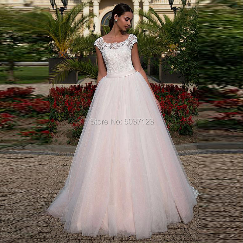 Vestido De Noiva Pink Cap Sleeves A Line Wedding Dress Sleeveless Lace Appliques Lace Up Tulle Bridal Gown Court Train