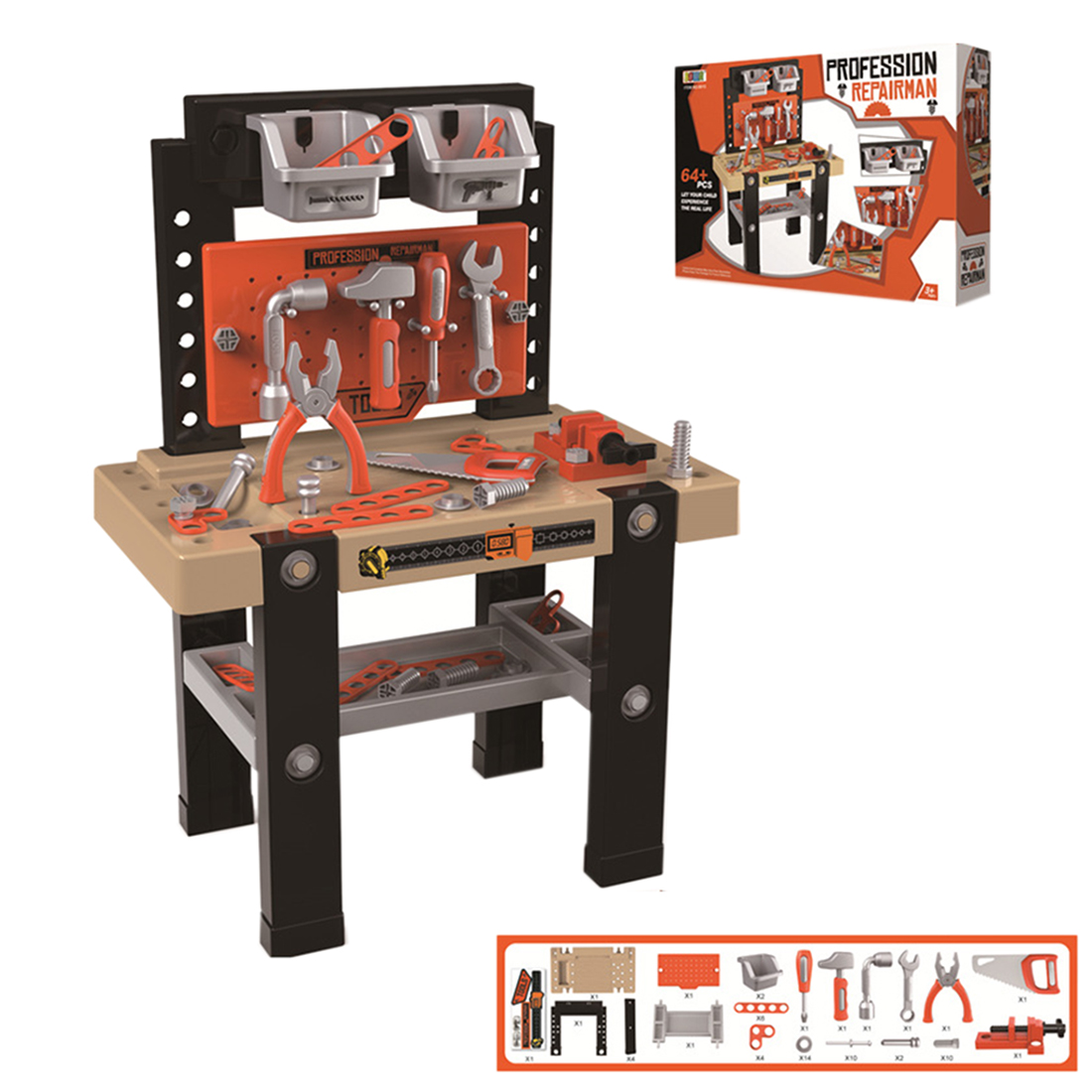 64Pcs Children Pretend Repair Tool Workbench Playset Assembly Educational Toy Learning Skills Set Gift For Boys Over 3 Years Old