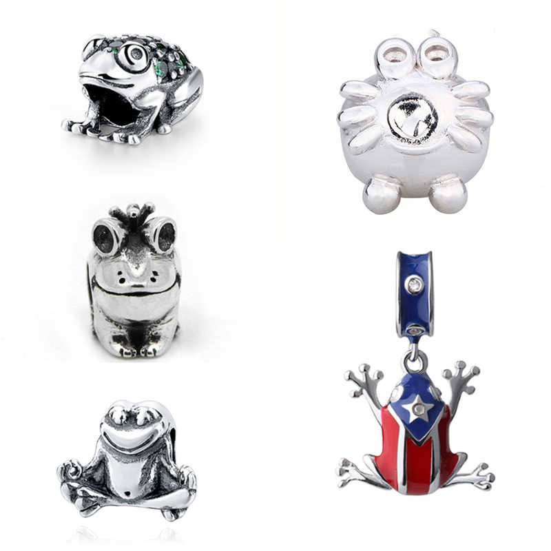 StrollGirl cute animal frog Beads collection Diy Pendant Charms with CZ and enamel fit original Pandora silver 925 Jewelry gift
