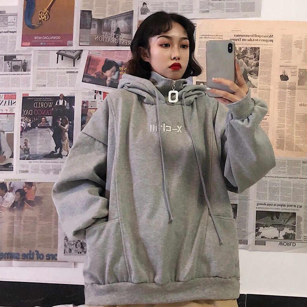 Womail Vrouwen Sweatshirt herfst Capuchon Trui Rits Sweatshirt Pocket Korea losse Campus mode Vrouwelijke Nep twee stukken
