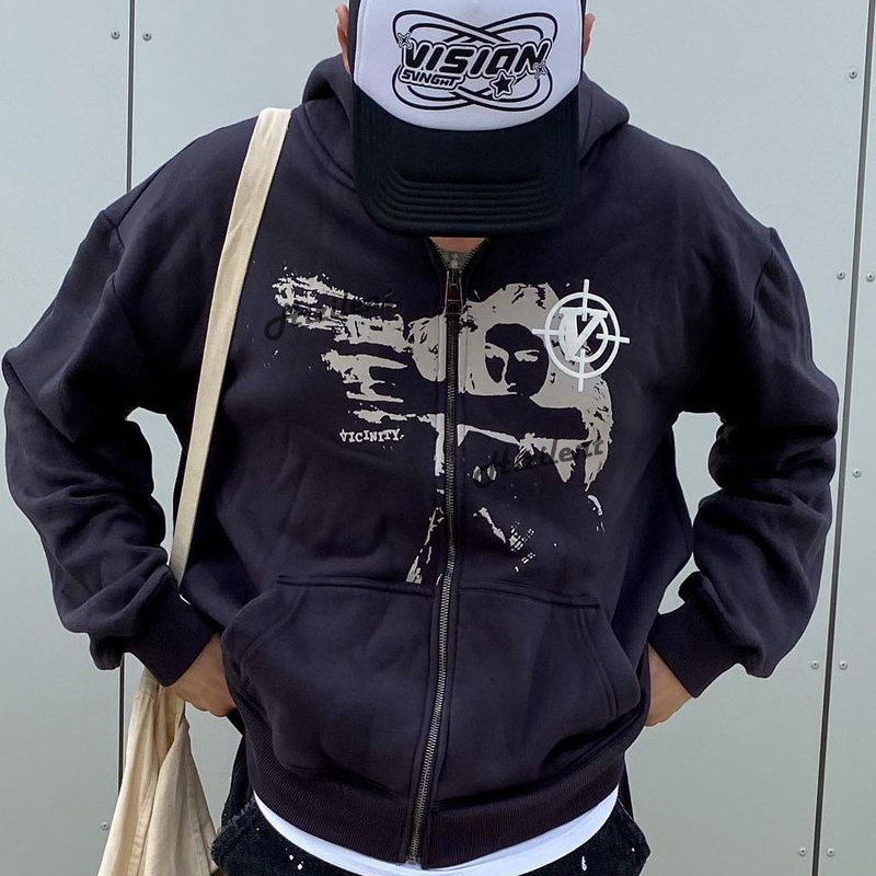 Anime print Gothic Streetwear Long Sleeve Black Zip Hoodie Y2k Grunge clothes Sweatshirt Korean Fashion Punk Sport Coat Pullover