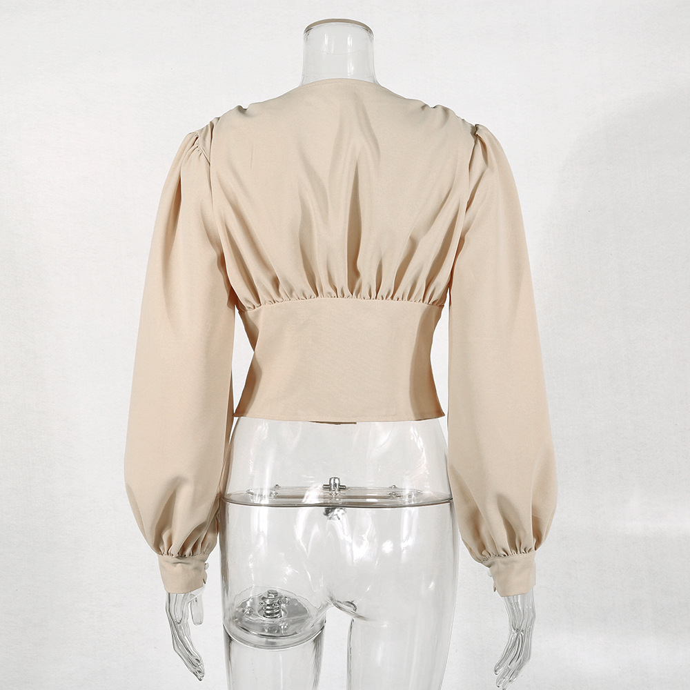Ladies Elegant Blouse Lantern Long Sleeve Tops 2020 Autumn V Neck Crop Top Fashion Shirts Women Button Up Shirt Vintage Clothing