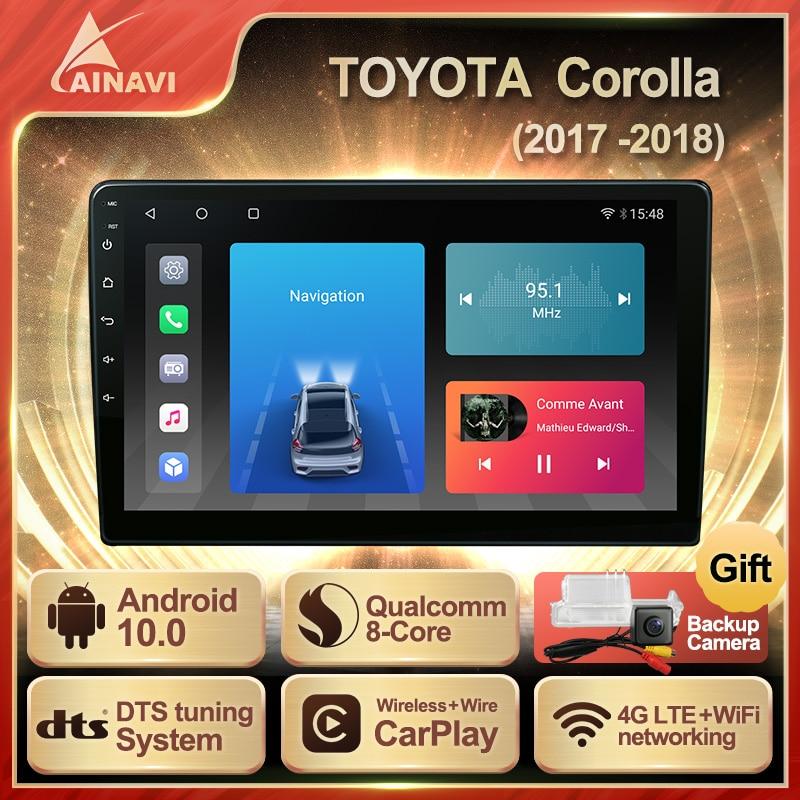 Автомобильный радиоприемник Android 10,0 QLED экран для Toyota Corolla 2017-2018 авто стерео Мультимедийный видеоплеер навигация Carplay No 2 din