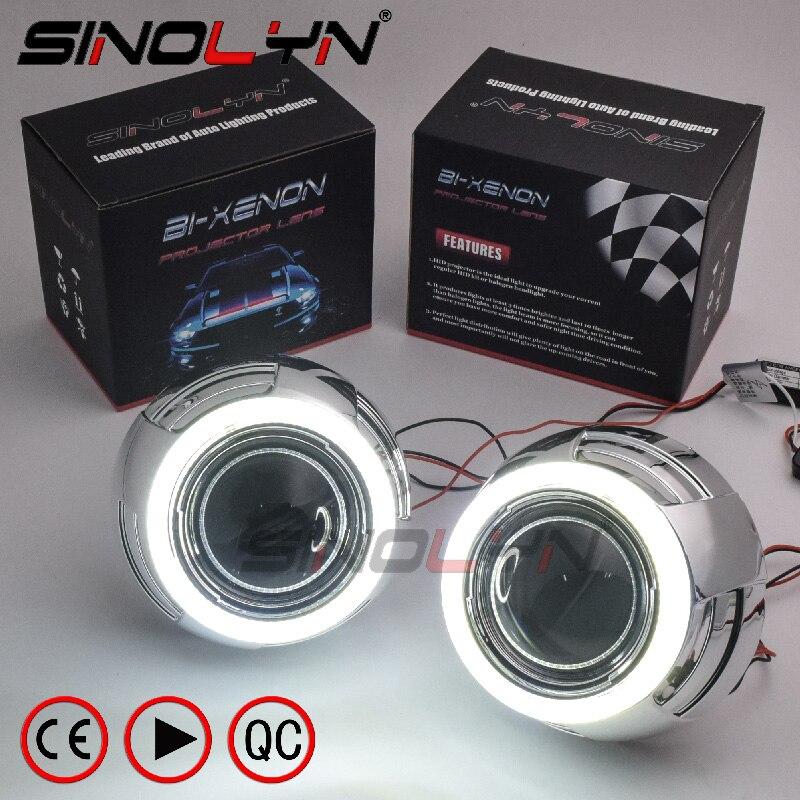 SINOLYN LED Angel Eyes Devil Eye DRL Car Bi Xenon Projector Lens For Headlight Kit Car Styling Auto Tuning DIY Headlamp Lenses