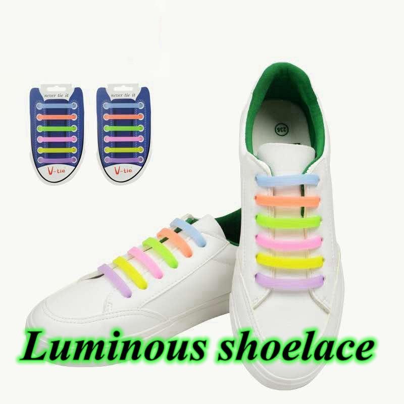 12 Pcs Luminous Silicone Shoelaces No Tie Elastic Shoe Laces High Quality Sneakers Lazy Laces Unisex Convenience Rubber Shoelace