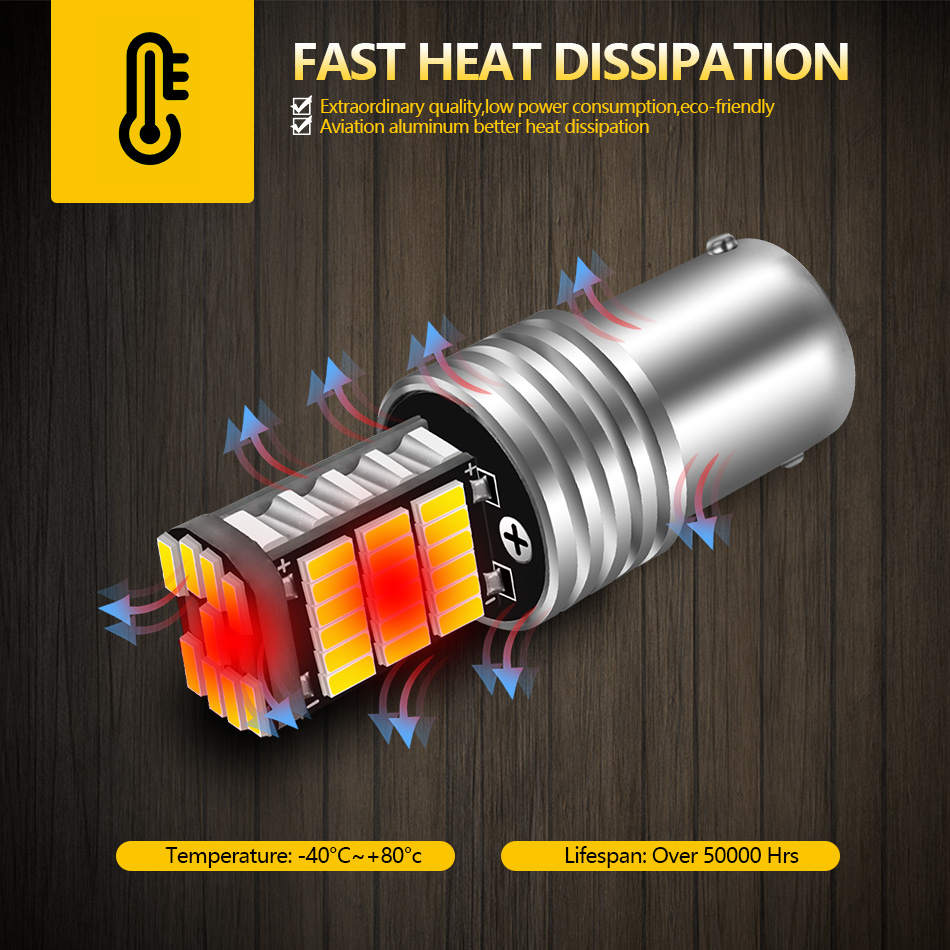 AILEO 2PCS 1156 BA15S P21W S25 7506 LED Bulbs High Power 45pcs 4014SMD Super Bright 1200LM Replace For Car Reversing Light White 4
