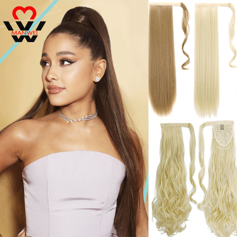 MANWEI Long Clip In Ponytail Hair Extension Wrap Around Ponytail Synthetic Fake Pony Tail Hairpiece For Women