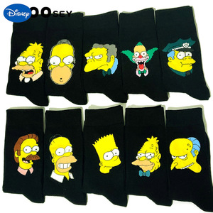 Image 1 - 10 Pairs/Pack Simpson family Funny Happy Cotton Couple Lovers Socks Black Mid High Cute Socks for Men and Women Socks College